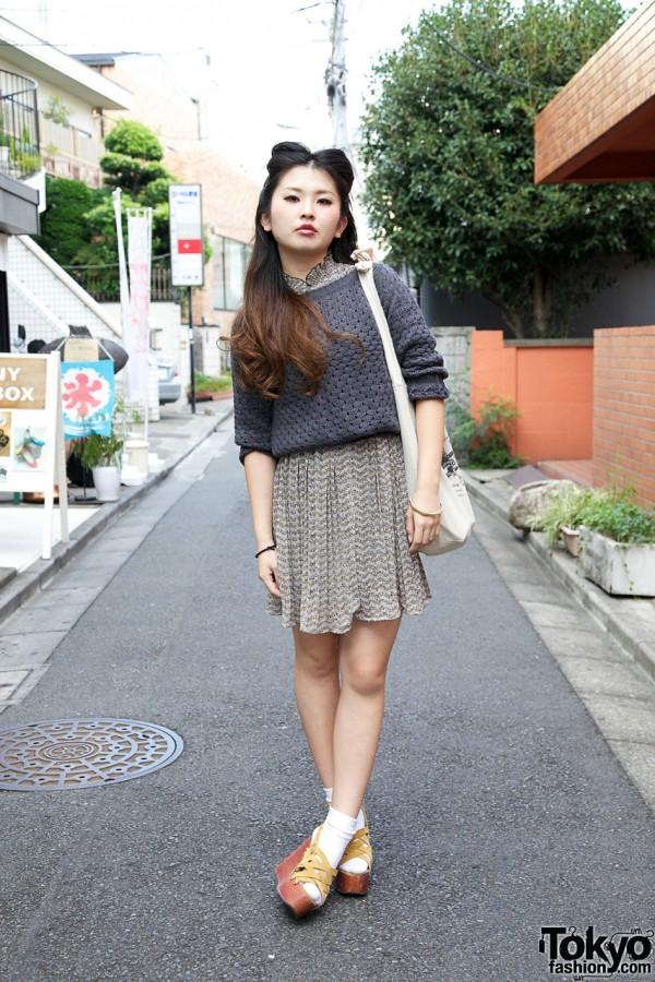 Bunka Fashion Student's Rockabilly Hairstyle, Knit Sweater & Platforms