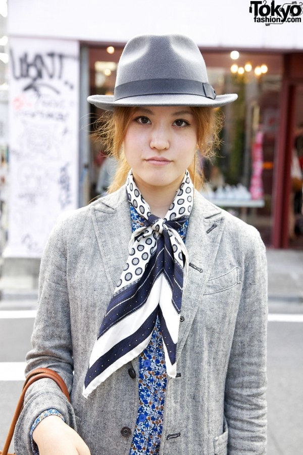 Fedora hat & scarf from Paris flea market in Harajuku