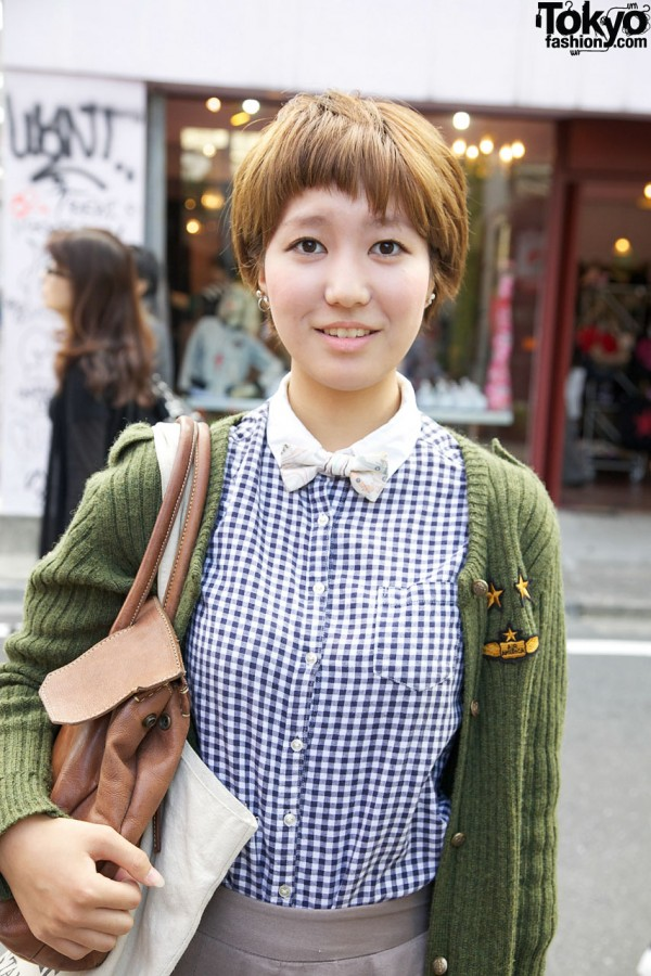 Gingham resale shirt & Liberty bow tie in Harajuku