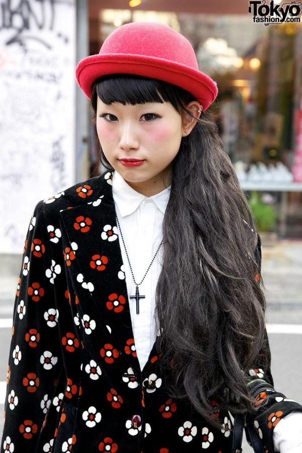 Harajuku Girl's Flower-pattern Blazer