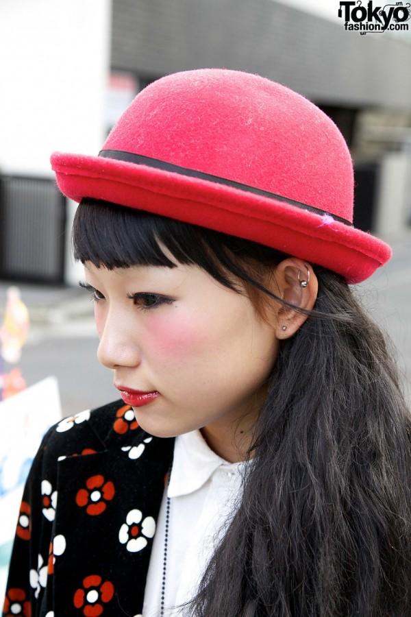 Red Bowler Hat in Harajuku