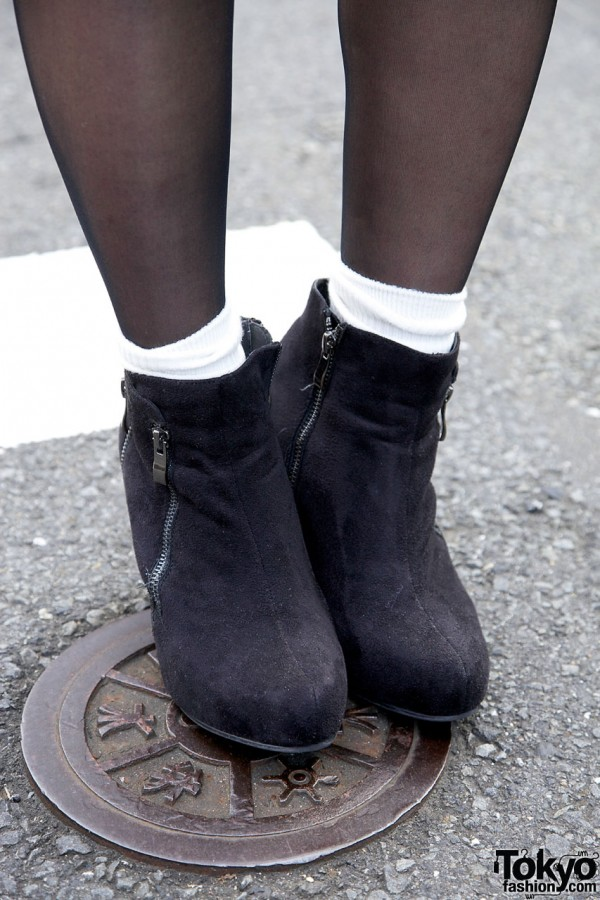 Black Booties With White Socks