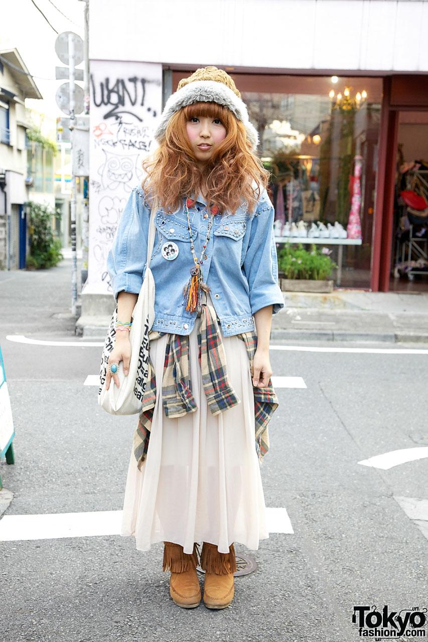 Fur-Trimmed Hat & Studded Denim Jacket in Harajuku