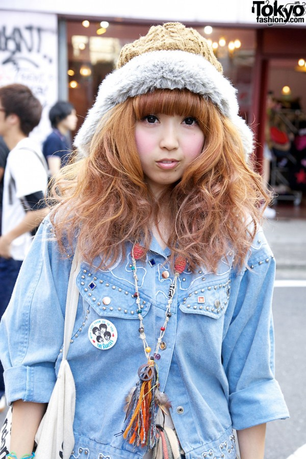 70s-style denim jacket in Harajuku
