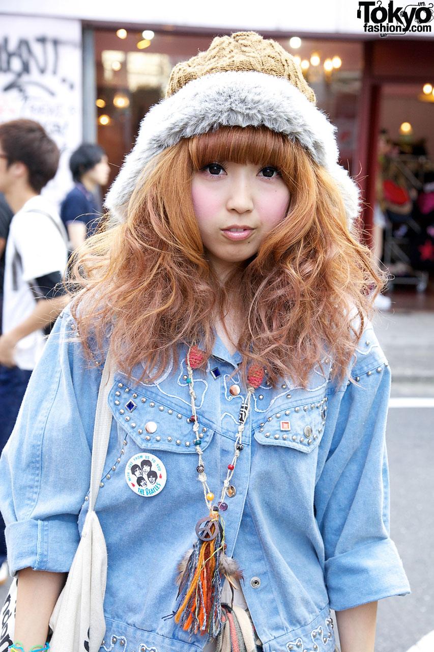 70s Girl S Fur Trimmed Hat Studded Denim Jacket