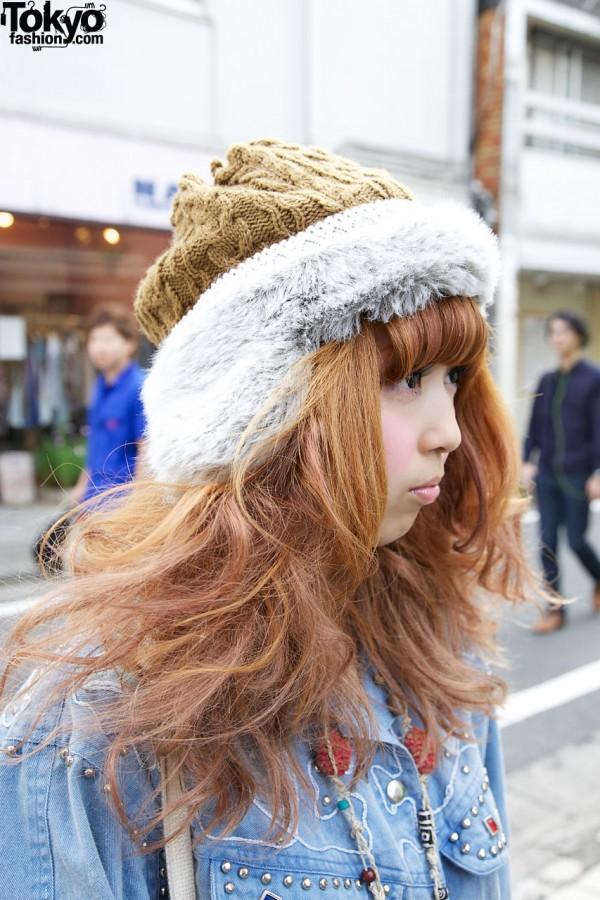 Fur-trimmed knit hat in Harajuku