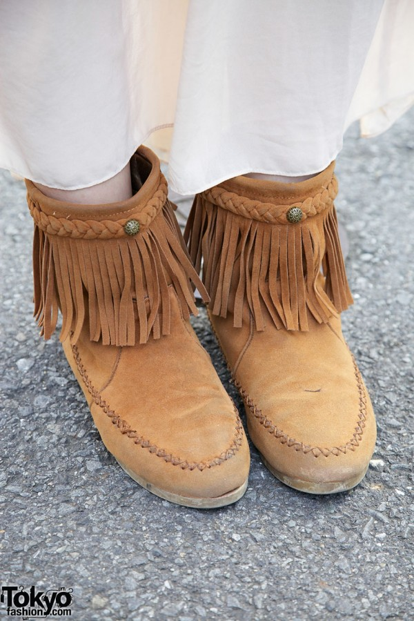 Suede fringed moccasin boots in Harajuku