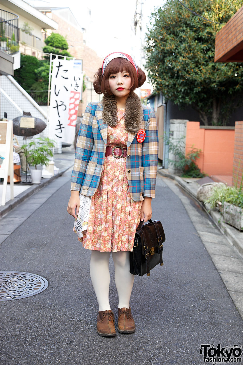 Harajuku Girl S Twin Hair Buns Budweiser Scarf Plaid Blazer