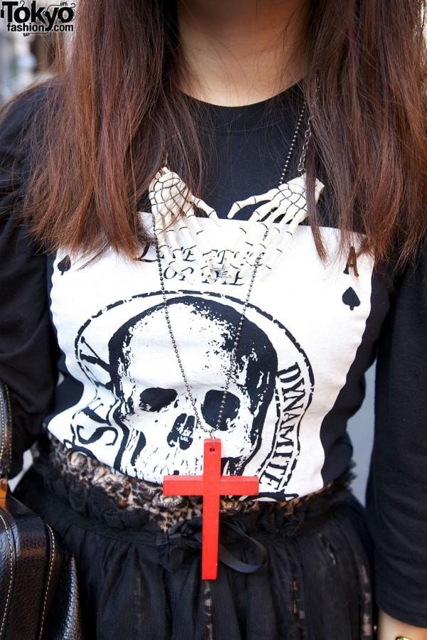Red Cross Necklace & Skeleton Hands