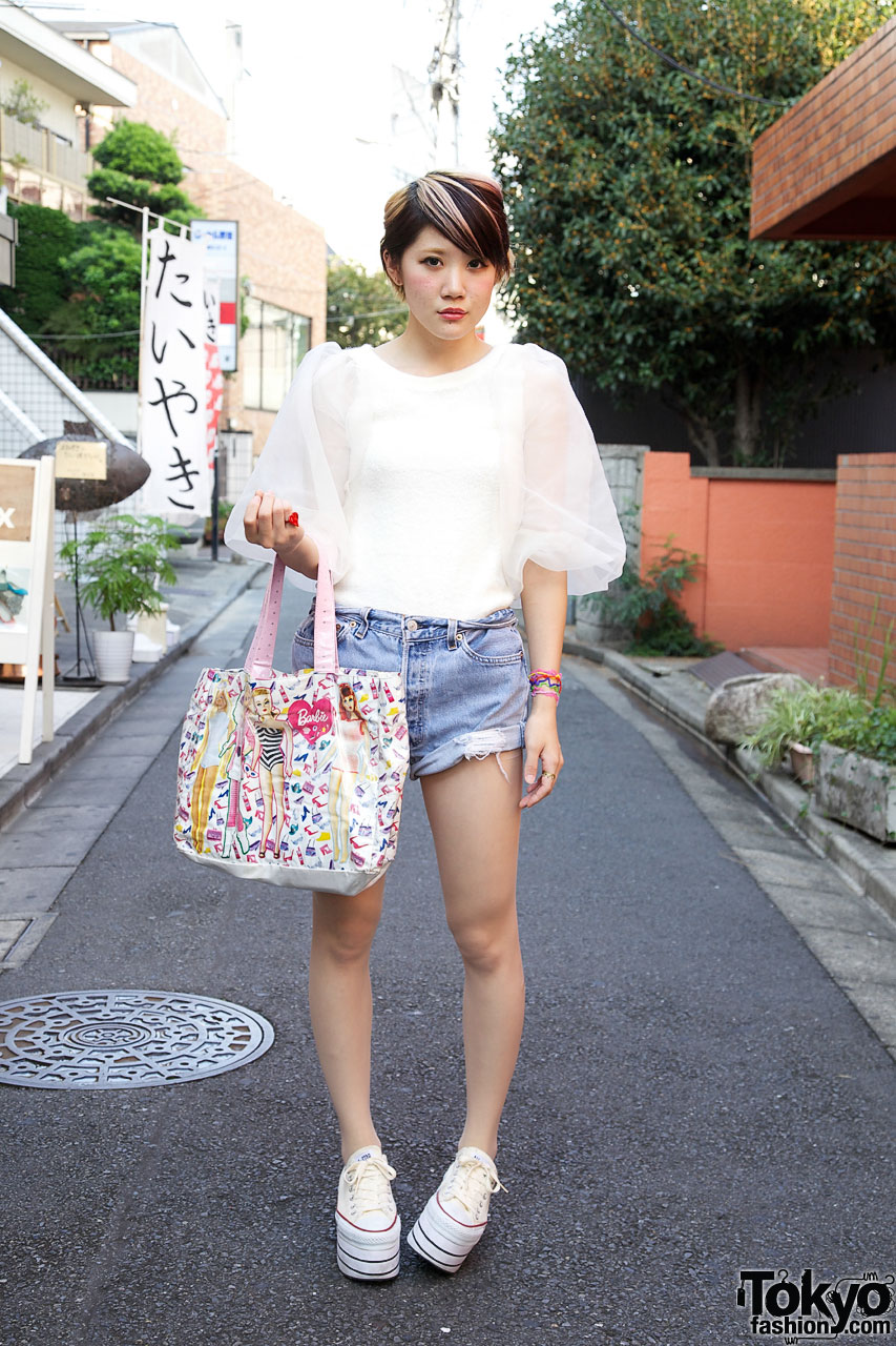 Girl's Vintage Sheer Harajuku Top Highlights Pink Shorts 071an