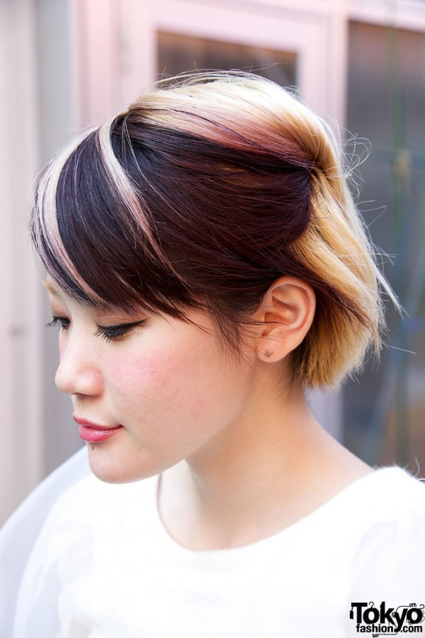 Short Japanese Hairstyle With Pink Highlights