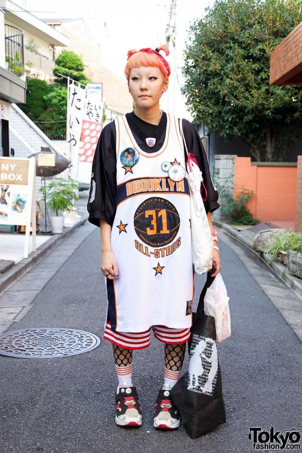 Girl's Peach Hair, All Stars Shirt, Adidas Shorts & Reebok Sneakers