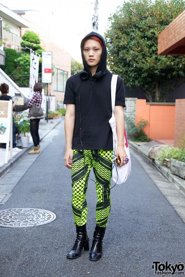 Bunka Fashion Student's Dog Harajuku Boots, Skinny Neon Pants & Vivienne Westwood Bag