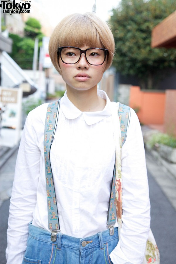 Tucked cotton shirt & suspenders in Harajuku