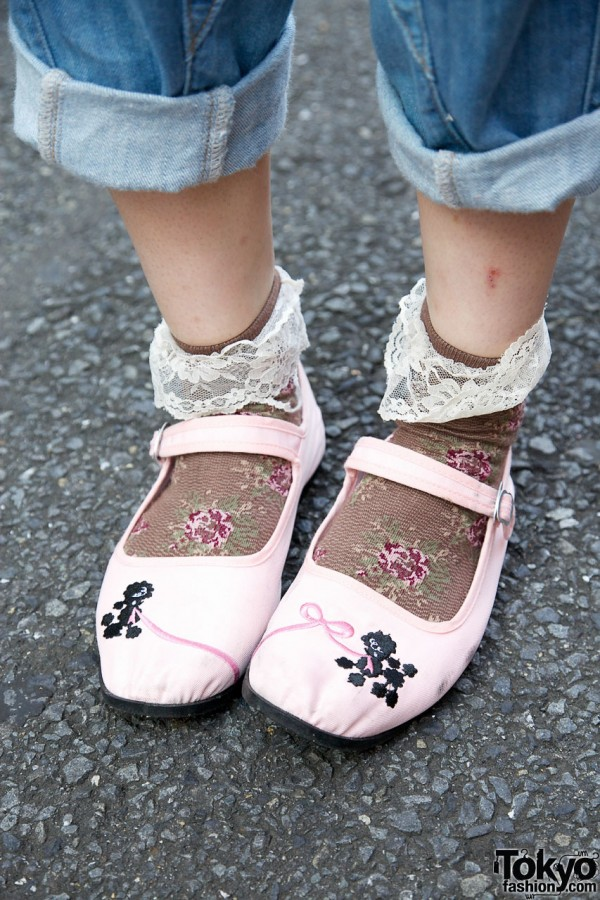 Poodle shoes & lacey socks in Harajuku