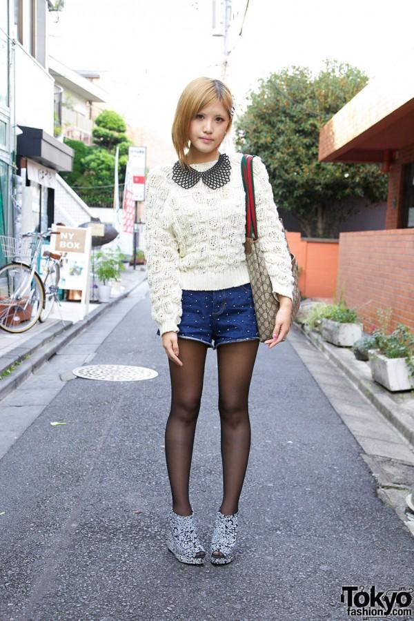 Girl's Nadia Sweater, Studded Shorts & Vintage Gucci Bag
