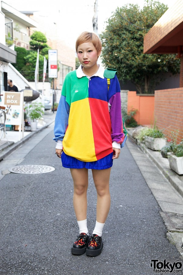 Bunka Fashion Student's Color Blocked Top & Backpack