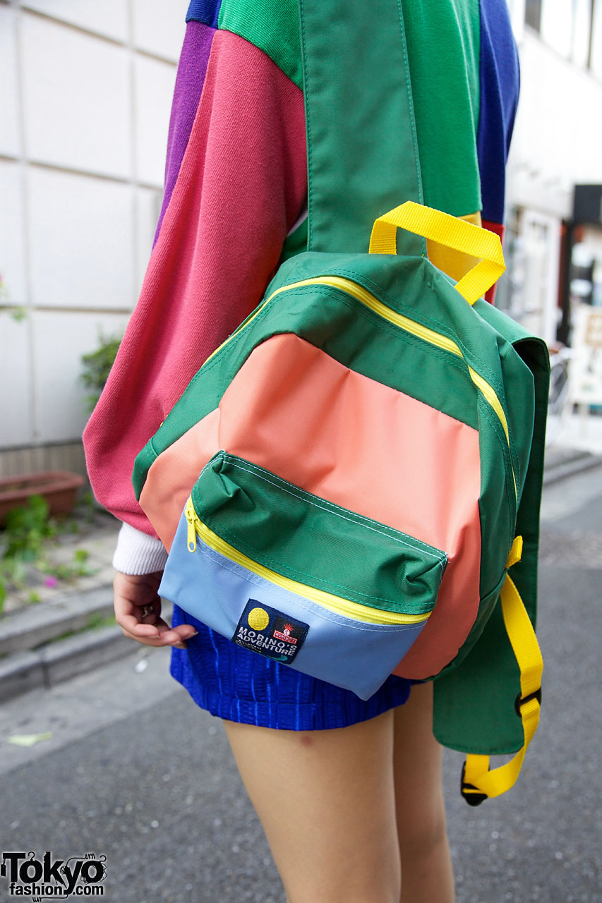 Bunka Fashion Student S Color Blocked Top Amp Backpack