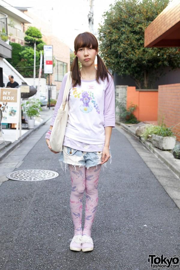 Harajuku Girl's Pastel Look w/ Care Bears & Cute Plush Spank! Rabbit Bracelet