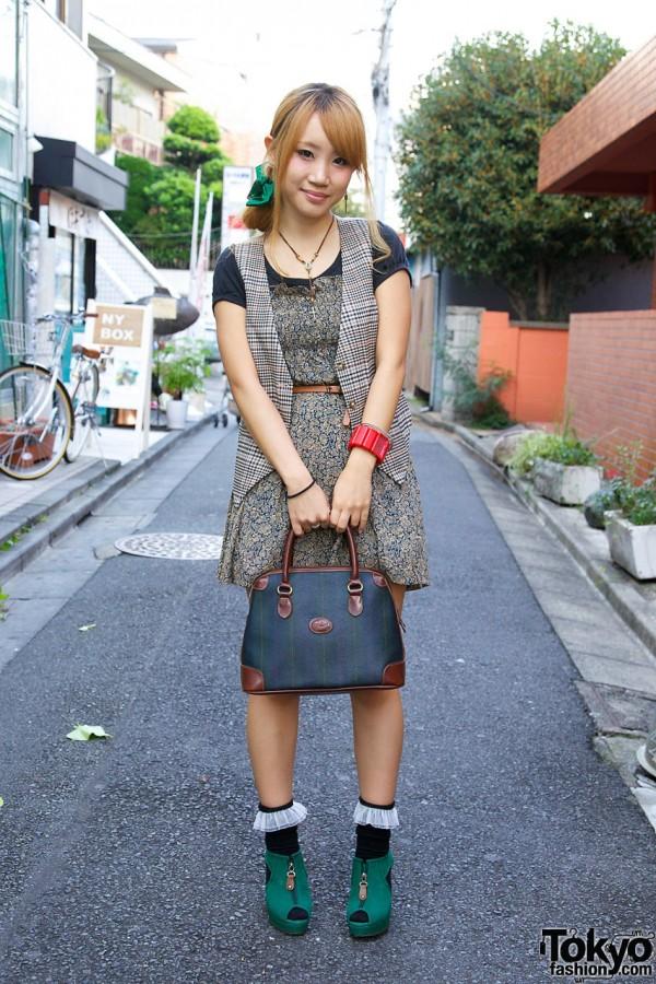 Plaid vest & short print Dazzlin dress in Harajuku