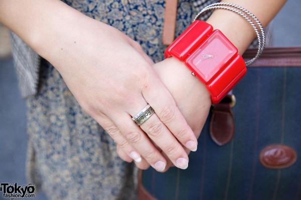Nixon bracelet watch & Forever ring in Harajuku