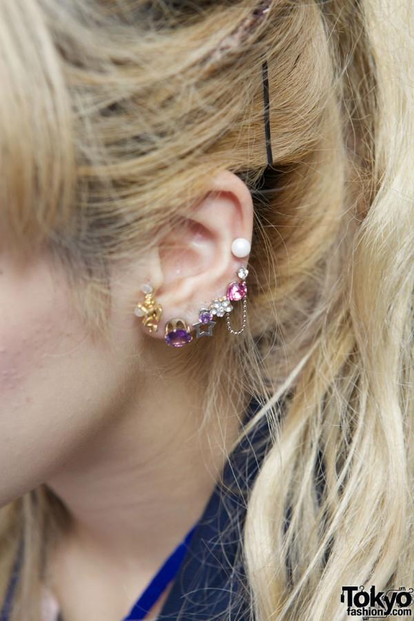 Jeweled ear studs from 6%DokiDoki in Shinjuku