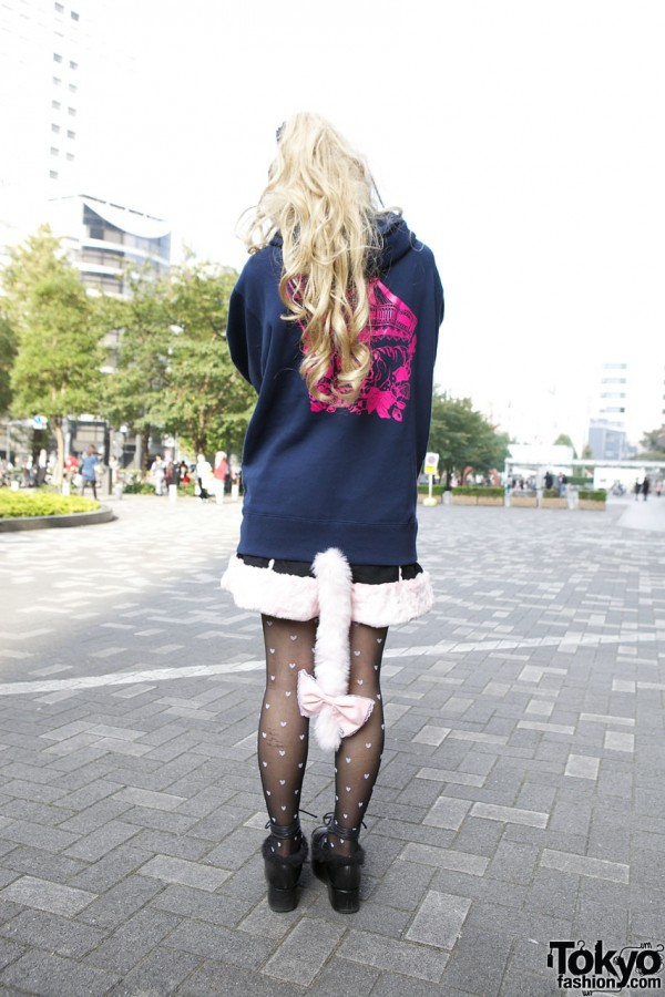 Shirley Temple furry shorts with kitty tail in Shinjuku
