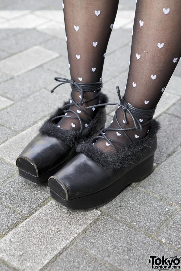 Jane Marple fur-trimmed shoes in Shinjuku