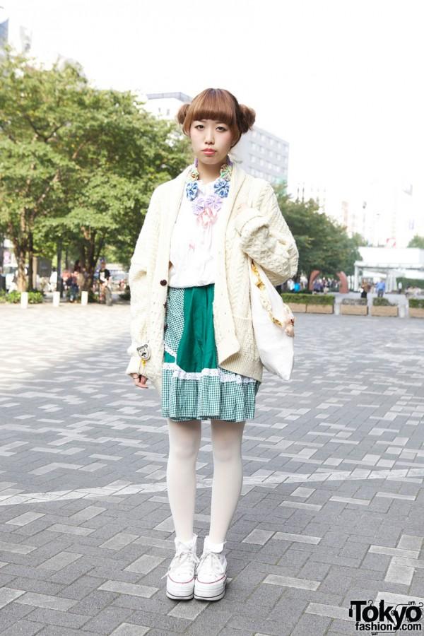 Japanese Girl's Double Bun Hairstyle, Knit Sweater, Gingham Skirt & Platform Converse