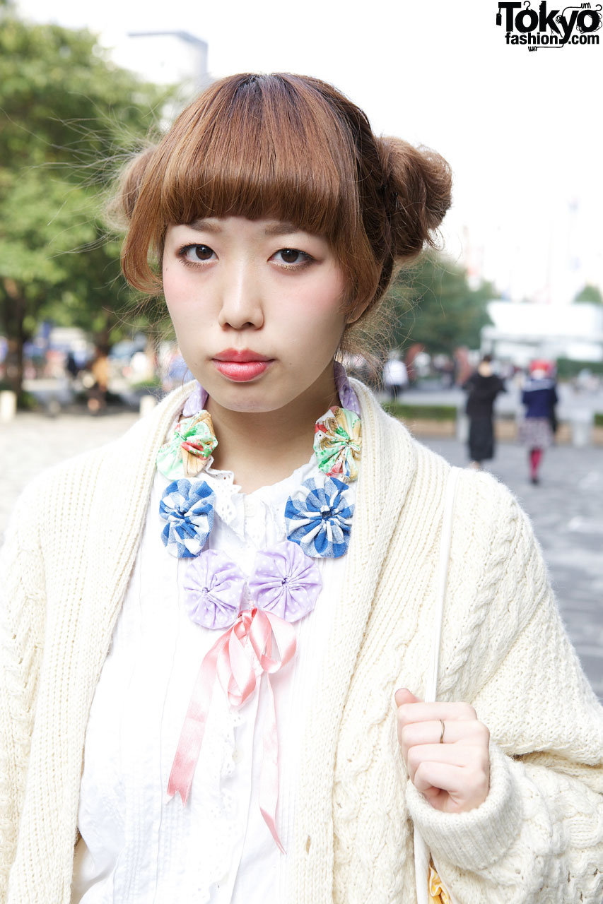 Japanese Girl S Double Bun Hairstyle Knit Sweater