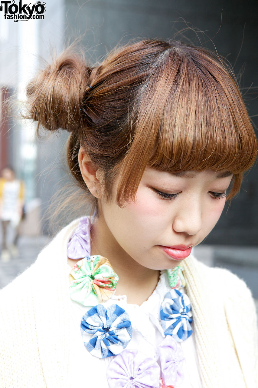 Japanese Girl's Double Bun Hairstyle, Knit Sweater