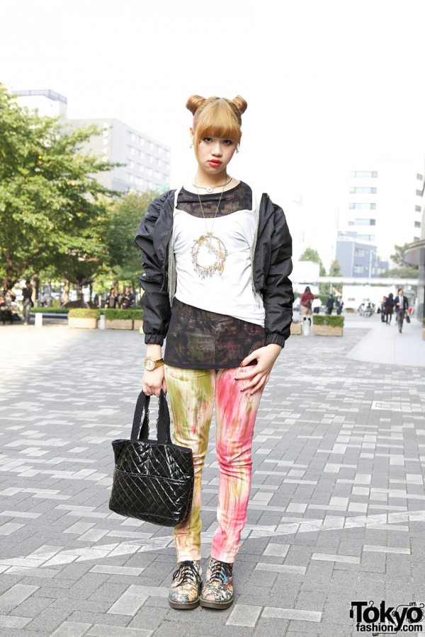 Bunka Student in Painted Cheap Monday Pants