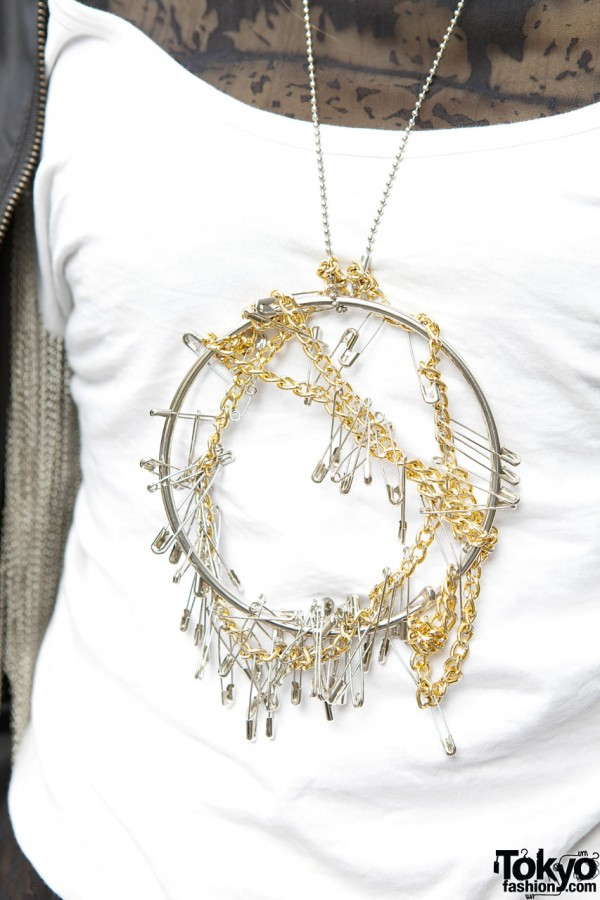 Safety Pins & Gold Chain Necklace
