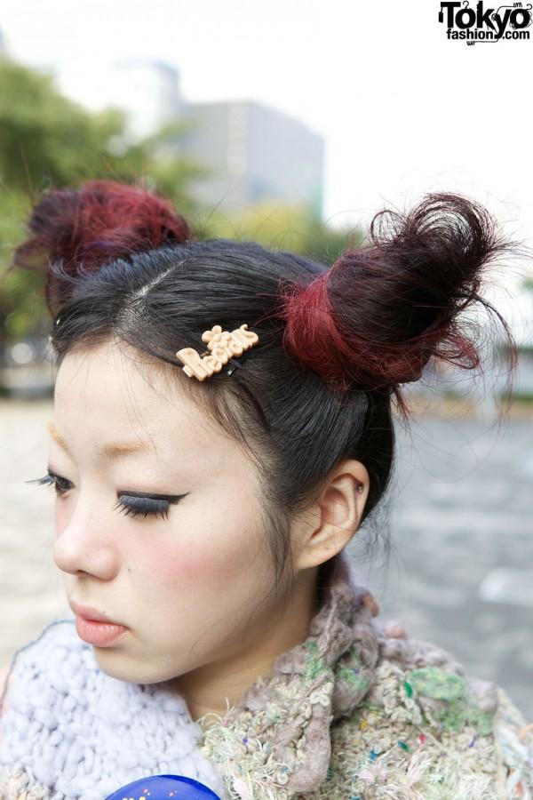 Twin buns & Precious hair clip in Shinjuku