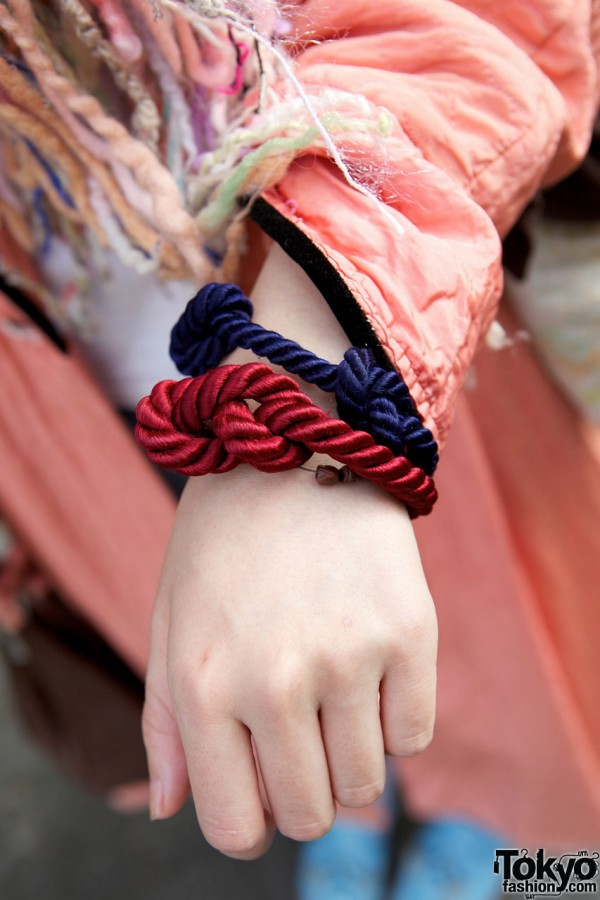 Knotted cord bracelets in Shinjuku