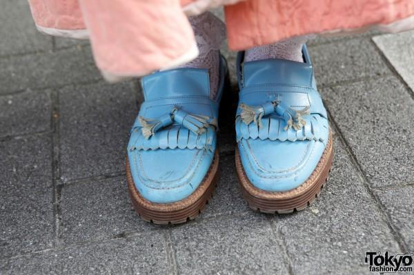 Blue Tokyo Bopper moccasin shoes