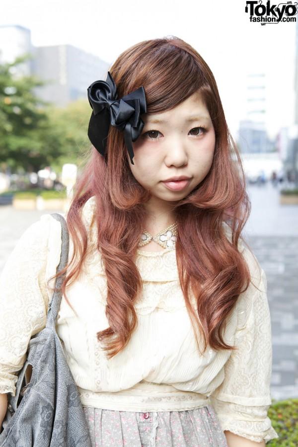 Long auburn hair & large hair bow in Shinjuku