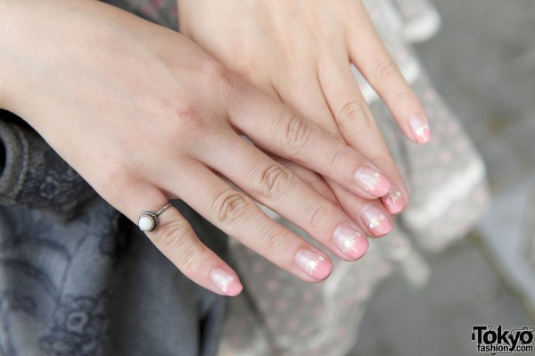 Small silver ring & decorated nails