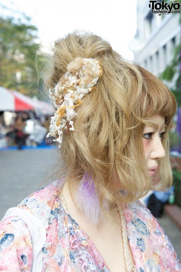 Loose bun & hair ornament in Shinjuku