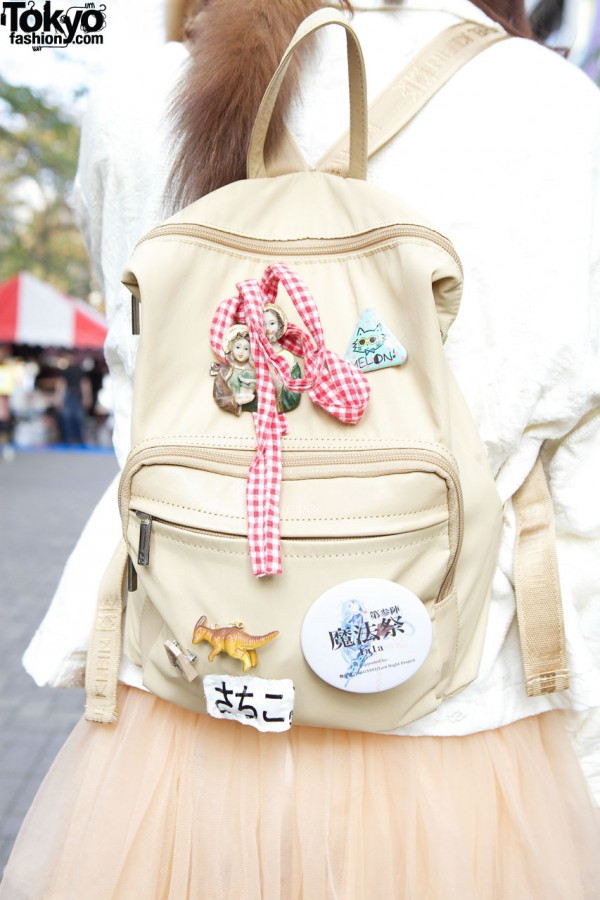 Leather backpack with handmade accessories in Shinjuku