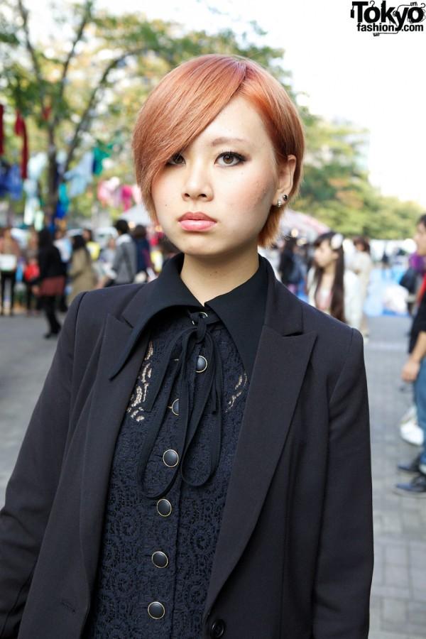 Lace blouse & resale tuxedo jacket in Shinjuku