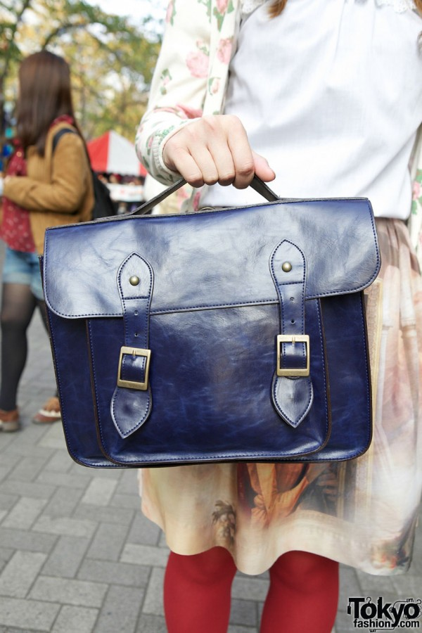 Blue leather satchel in Shinjuku