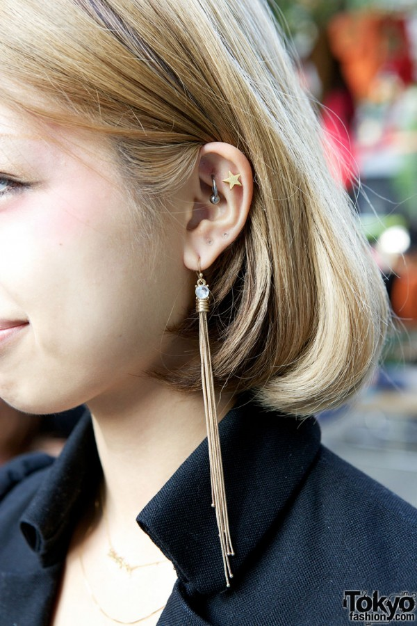 Ear studs & Forever 21 long earring in Shinjuku
