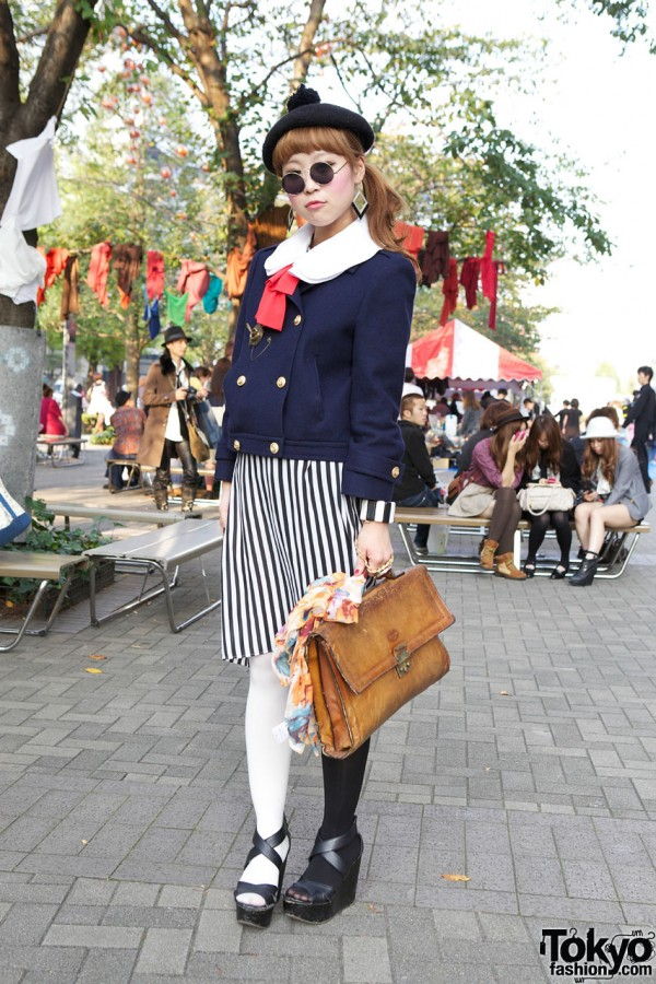Shinjuku Girl's Nautical Jacket, Beret with Pom Pom & Two-Tone Tights