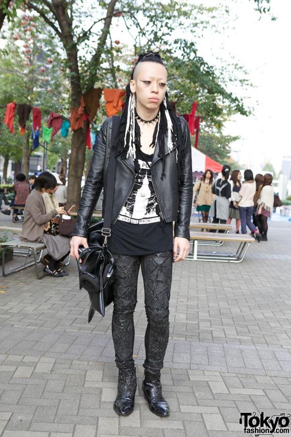 Punk Hair Falls, Stunning Handmade Pants, Boots & Black Star Bag in Tokyo