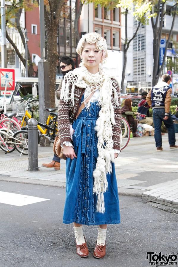 Vintage denim dress & Nordic sweater in Harajuku