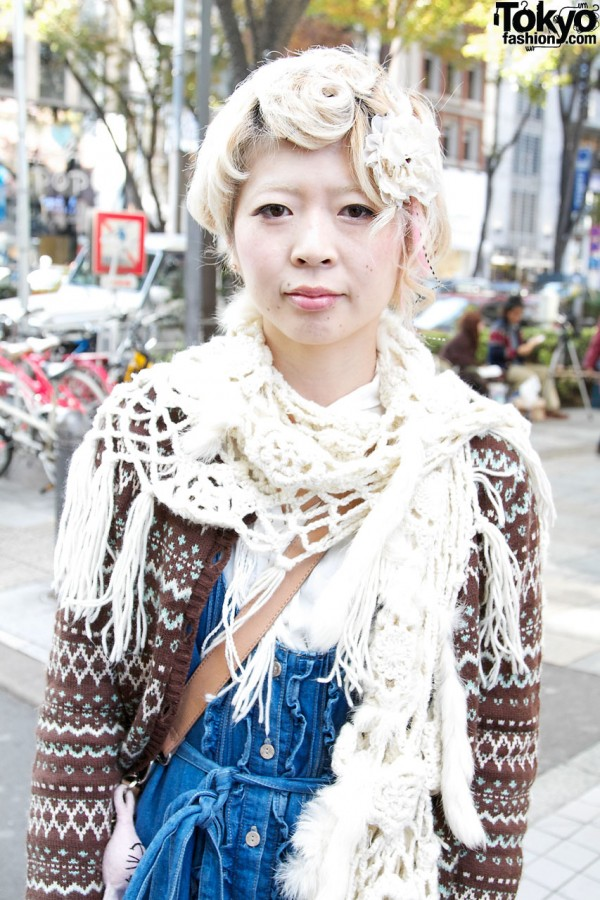 Handmade crochet scarf in Harajuku