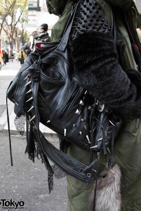 Vinit Andrews studded leather bag in Harajuku