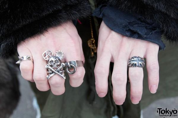 Alick Black silver rings in Harajuku