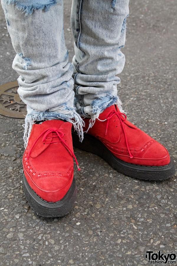George Cox red shoes & distressed Ksubi jeans in Harajuku